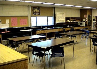 In a small space next to this classroom was a ham radio system