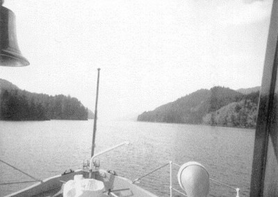 Aboard the Nimpkish II looking towards Holberg Narrows from Coal Harbour at the end of the Inlet - April 1972