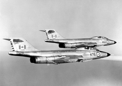 Aerial photo of two RCAF CF-101B Voodoo fighters