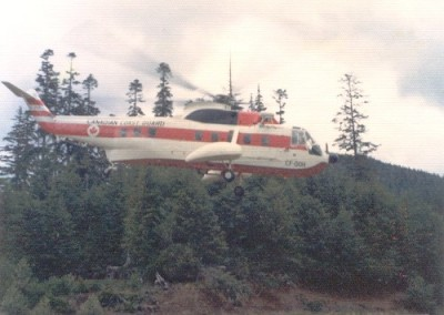 Canadian Coast Guard helicopter landing at Holberg - May 1974