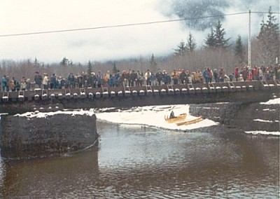 Klondike Days. Spectators at the finish line of the boat race