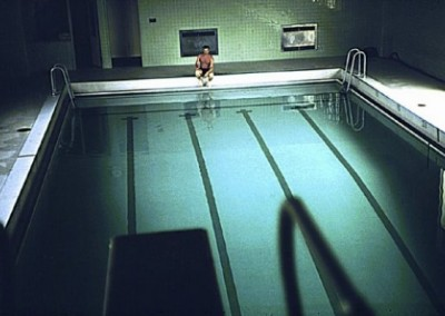 Pete Peterson at the end of the swimming pool in the Recreation Centre