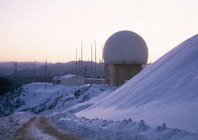 Radomes at Operations site with accumulating snow