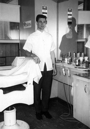 Rick Sproule in Barber Shop - April 1965
