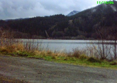 Looking across the chuck, at the Holberg log dump (2006).