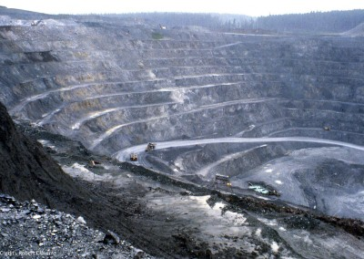 Operated between 1974 and 1986 this open pit reached a pit bottom level of 1,330 ft. below sea level.